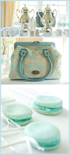 This is from a very elegant baby shower, but it is so lovely wouldn't it look great for a mothers day tea?! Lovely tiffany blue macaroons, polished silver and a stunning Juniper Berry Carry all!! <3 #PPBmothersday