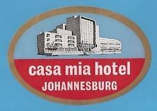 CASA MIA Hotel old luggage label JOHANNESBURG South Africa