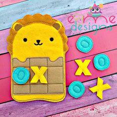 Lion Tic Tac Toe Embroidery Design - or Larger - E&Me Designs Baby Crafts, Preschool Crafts, Felt Crafts, Diy Quiet Books, Baby Quiet Book, Tic Tac Toe, Felt Diy, Handmade Felt, Diy For Kids