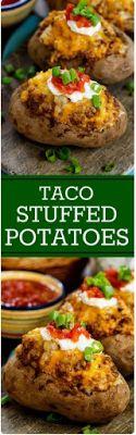 Double Stuffed Taco Potatoes - Foody Food