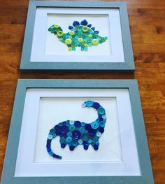 Button Dinosaurs for Ethan's room - made by Andie & Ashley #dinosaur #buttonart