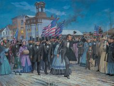 Of The People by Dale Gallon. President Abraham Lincoln arriving at the Gettysburg railroad station for the dedication of the National Cemetery the following day.