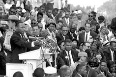 """The Rev. Dr. Martin Luther King Jr., head of the Southern Christian Leadership Conference, speaks to thousands during his """"I Have a Dream..."""