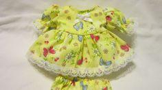 "Yellow Butterlfy Print Dress/bloomers, fits 8"" L'il Cutie Berenguer babies #KindredHeartsDesigns"