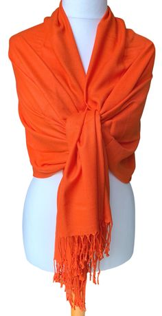 Large orange pashmina wrap / shawl, excellent quality - 70% Cashmere, 30% Silk.  £13.99 with FREE UK Delivery.  The pashmina drapes and falls beautifully due to its weight, softness and density of the weave, it can also be worn as a scarf, very versatile - the perfect fashion accessory.  Measurements approx : 71 inch / 180 cm in length excluding the tassel trim and 30 inch / 75 cm in width. Prom Accessories, Fashion Accessories, Pashmina Wrap, Prom Outfits, Oversized Scarf, Silk Shawl, Free Uk, Shawls And Wraps, Burnt Orange