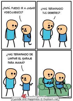 Cómic de Cyanide and Happiness en español 2014: Siempre tienes que tener un as bajo la manga para hacerte con la tuya y no realizar las tareas que te mandan