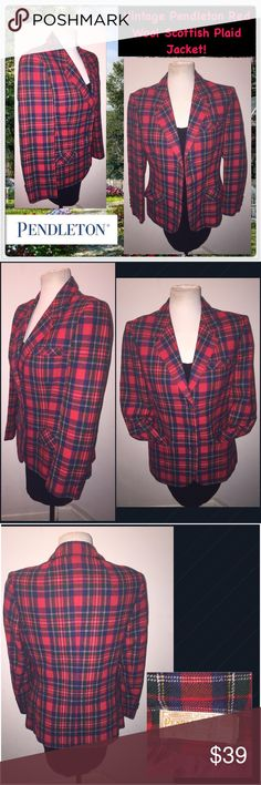 """Vintage Pendleton Red Wool Scottish Plaid Jacket! Vintage Pendleton Red Wool Scottish Plaid Jacket! Features: front pockets, Scottish plaid design, wool material, long sleeves & three front button front. Made in USA. Vintage tag size 14. Actual Size XS. Measurements: 36"""" chest, 17"""" shoulder to shoulder, 23"""" sh to end, 16"""" pit to end"""", 32"""" waist, 25"""" back length. Some minor exterior moth bites which are not really noticeable. Good condition. Offers welcome. Vintage Jackets & Coats Blazers"""