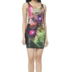 Low-Cut Gorgeous Multicolor Starry Sky Pattern Beam Waist Packet Buttock Nylon Color Matching Dress For Women