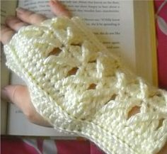 Crocheted Fingerless Mitts in Cream by SueStitches for $23.00