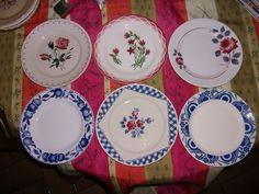 """Collection 6 assiettes plates Sarreguemines """" KG Lunéville Badonviller"""