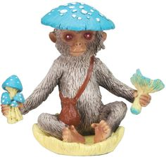 "Amazon.com: Custom & Unique {3"" x 1.8"" Inch} 1 Single Small, Home & Garden ""Standing"" Figurine Decoration Made of Resin w/ Vibrant Artistic Whimsical Mushroom Jungle Sitting Monkey Style {Assorted Color}: Home & Kitchen"