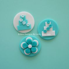 12 Edible Fondant Tiffany Blue Cupcake Toppers - Wedding Cake & Flower. $20.00, via Etsy.