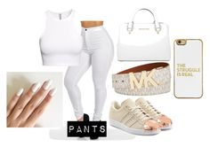 """All white!"" by thefemaletupac ❤ liked on Polyvore featuring Michael Kors, BaubleBar, adidas Originals, H&M, michaelkors and adidas"
