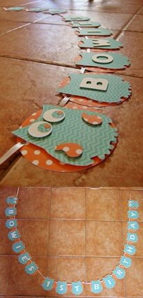 """Giggle and hoot inspired personalised banner - """"Bowie's Birthday"""". Blues and oranges. Masons, Stitch Design, Make And Sell, Birthday Ideas, Blues, Banner, Kids Rugs, Inspired, Party"""