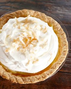 """For a sweet, billowy dessert, try Martha Stewart's banana cream pie recipe. This delicious banana cream pie recipe is adapted from """"Martha Stewart's Baking Handbook,"""" and it is one of Martha's favorite recipes because it's pure banana and pure cream. Custard Pies, Coconut Custard Pie, Custard Filling, Just Desserts, Delicious Desserts, Dessert Recipes, Yummy Recipes, Baking Recipes, Gourmet"""