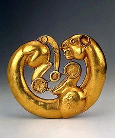 Plaque in the Shape of a Panther Curved Round 7th – 6th century BC South-Western Siberia, area between the Rivers Irtysh and Ob Russia Gold; cast, chased