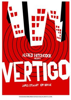 A movie poster for Alfred Hitchcock's Vertigo. Take note of distinctive typography and minimalistic style.