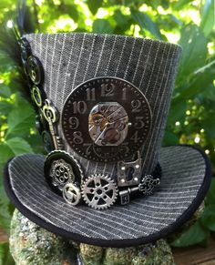 Tiny Top Hat - Steampunk - Mini Top Hat -  Grey Pinstripe, Clock, Gears, Key, Keyhole, Button