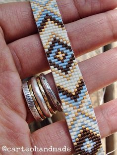 Handmade Loom Beaded Bead Bracelet - Earth, Sun and Sky