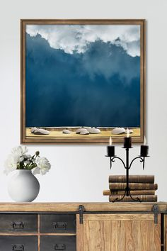 Painting of a nature scene with ravens and hanging white clouds. Available as acrylic, metal, canvas and framed print in different sizes, click through for the details and more images of the collection. Hanging Clouds, Wall Art Prints, Framed Prints, Tree Wall Art, White Clouds, Nature Scenes, Sky, Landscape, Ravens