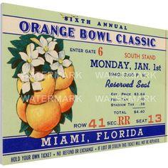 That's My Ticket Georgia Tech Yellow Jackets 1940 Orange Bowl Canvas Mega Ticket, Team