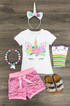 Unicorn Pink Sequin Short Outfit
