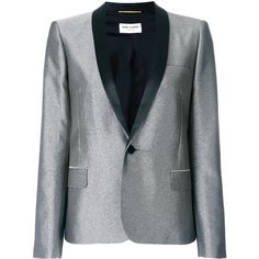 Saint Laurent metallic fitted blazer ($3,590) ❤ liked on Polyvore featuring outerwear, jackets, blazers, grey, long sleeve jacket, slim blazer, slim jacket, slim blazer jacket and slim fit jackets