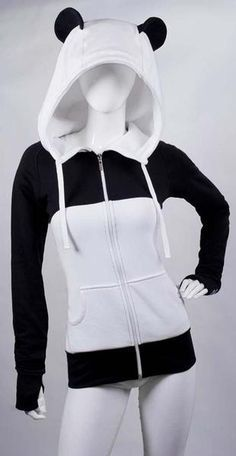 Over-sized corded hood! Distinctively shaped curving (never fall flat) panda ears. Extra-long in the torso and arms. Paw print cuffs with thum Pretty Outfits, Cool Outfits, Fashion Outfits, Oversized Jacket, Kawaii Clothes, My Outfit, Outerwear Jackets, Cosplay, Hoodies