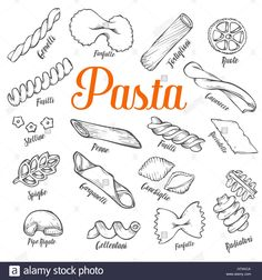 Hand drawn Italian pasta set. Collection of different types of pasta. Retro line art vector illustration. Gluten Food from wheat Stock Vector