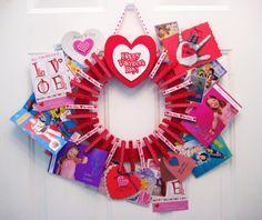 Valentine's Day Valentine Card Holder Clothespin Door Wreath.
