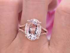 Elongated Oval Morganite Engagement Ring Pave Diamond Wedding 18K Rose Gold 10x14mm