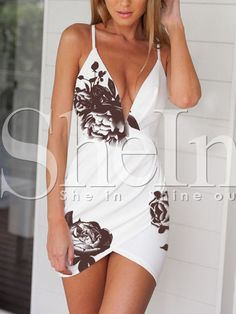 robe floral col v -blanc -French SheIn(Sheinside)