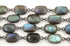 Labradorite Square Bezel Chain, Labradorite Connector Chain linked sold in Sterling Silver with Antique finish,11x15mm, (GMC-BZ-349)