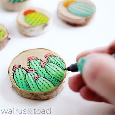 Updates from walrusandtoad on Etsy - Cactus DIY Wood Slice Crafts, Wood Burning Crafts, Wood Crafts, Diy And Crafts, Arts And Crafts, Kids Crafts, Painted Rocks, Hand Painted, Cute Car Accessories