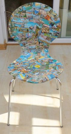 Upcycled postcard chairs in furniture diy  with postcards Furniture collage Chair