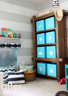 The Homes I Have Made: Preppy Playroom Reveal Like the labels on the bins. Toy Storage Shelves, Playroom Organization, Smart Storage, Playroom Ideas, Basement Ideas, Ikea Expedit, Toy Bins, Office Makeover, Kids Bedroom