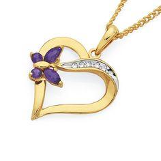 9ct Gold Amethyst & Diamond Butterfly Heart Pendant