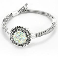 Nugz Jewelry - Aurora Austrian Crystal Luxe - Guitar String Bracelet, $30.00 (http://www.nugzjewelry.com/aurora-austrian-crystal-luxe-guitar-string-bracelet/)