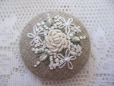 "Brooch 2"" - Emboidered Roses on linen. $18.00, via Etsy."