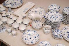 "Royal Copenhagen china set ""Blue Fluted"" pattern incl; : Lot 232"