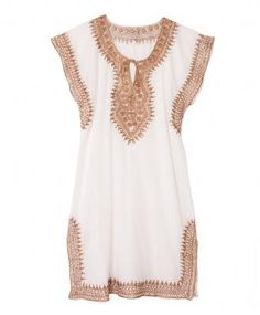 White and Gold Tunic Dress