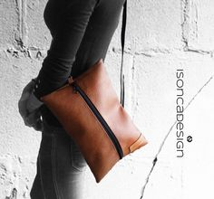 Handbag Clutch Shoulder Bag Shoulder Bag Cognac by DesignByIsonca, €36.00