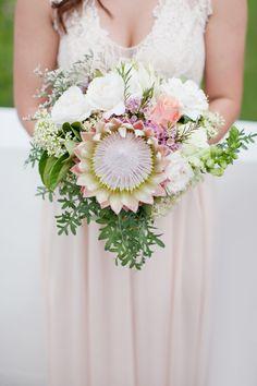 Protea & rose bouquet | SouthBound Bride www.southboundbride.com Credit: Moira West