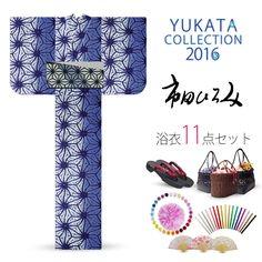 2016 Summer Hiromi Ichida women's Yukata set White blue Asanoha pattern