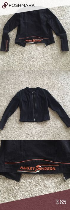 Harley Davidson jacket Harley Davidson jacket . 96% cotton , 4% spandex. Comes with clip on bag Harley-Davidson Jackets & Coats