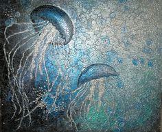 Drifting Jellyfish Glass Mosaic Panel via Etsy
