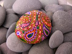 Paisley painted rock
