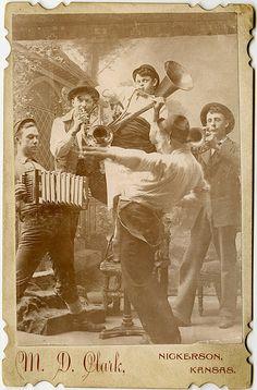 Vintage Photo of a Five-Man Band Performing...... (Nickerson, Kansas -- circa unknown).
