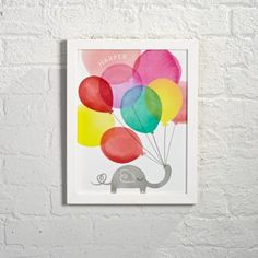Personalized Framed Elephant Balloons Wall Art | The Land of Nod