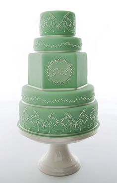 Pastel Mint Green Wedding Cake, this is so beautiful and can be embellished so many different ways to become even more elegant. If I was getting married this would be my cake! Beautiful Wedding Cakes, Gorgeous Cakes, Pretty Cakes, Amazing Cakes, Beautiful Flowers, Mint Wedding Cake, Wedding Mint Green, Gold Wedding, Wedding App
